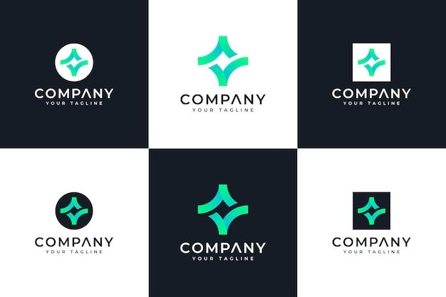 Set of spark checkmark logo creative design for all uses