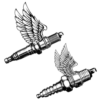 Set of spark plug with wings.  elements for logo, label, emblem, sign.  illustration