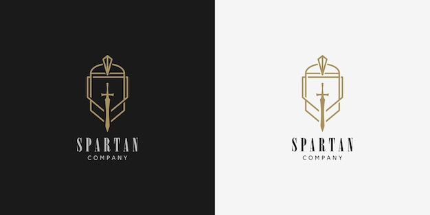 Set of spartan logo design concept