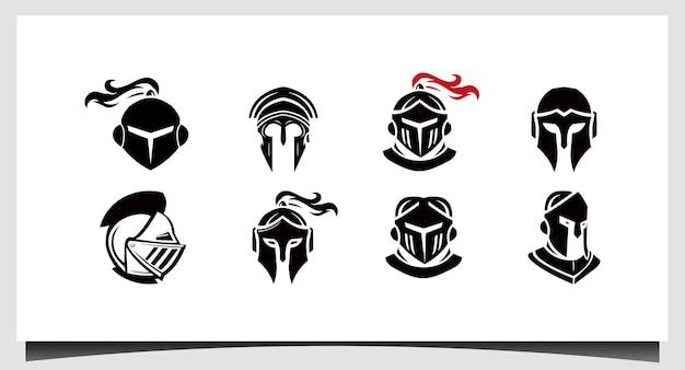 スパルタンのロゴを設定するスパルタのロゴスパルタンのヘルメットのロゴのベクトル
