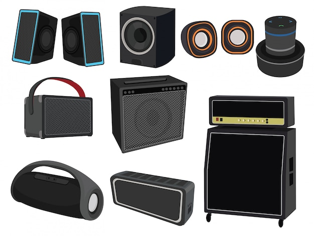 Set of speakers for listening to music. collection of devices for amplifying sound.