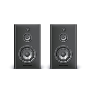 Set of speakers on white background