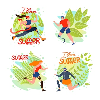 Set special social card i love summer, cartoon