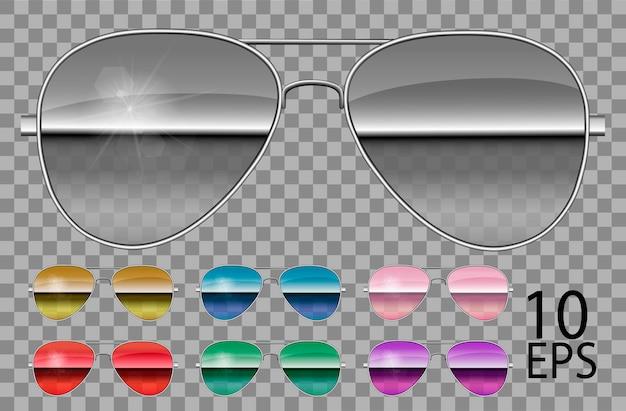 Набор зеркальных очков. полицейские капли авиатора формы. прозрачные разного цвета пурпурный. солнцезащитные очки. 3d графика. унисекс женщины мужчины.