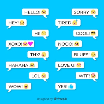 Set of speech balloons with different emojis