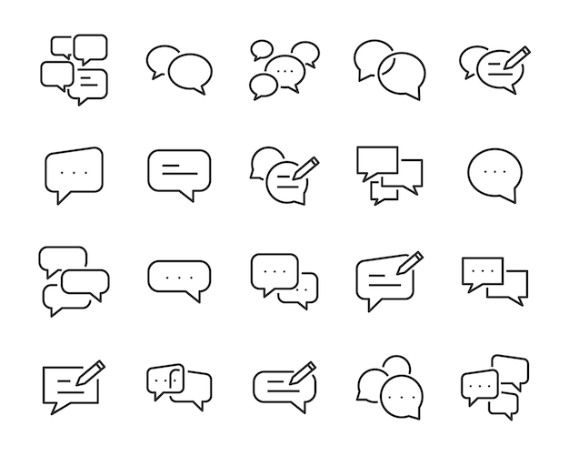 Set of speech bubble icons, such as talk, chat