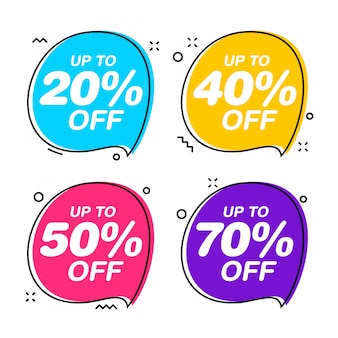 Set of speech bubble sale tags. discount red sticker flat illustration