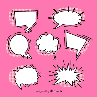Set of speech bubbles comic collection on pink background