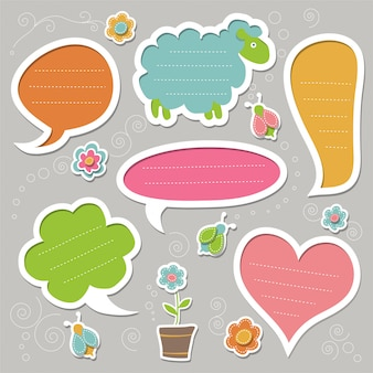 Set of speech bubbles, decorated with bugs and flowers. cute frames.