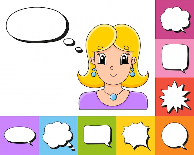 Set of speech bubbles of different shapes with a cute cartoon character.