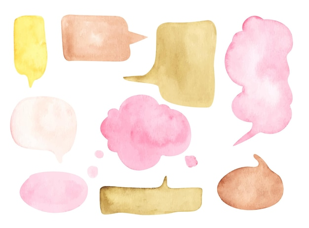 Set of speech bubbles on white background. watercolor illustration.