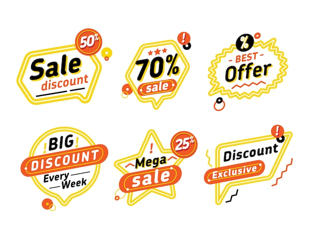 Set of speech bubbles with discount offers