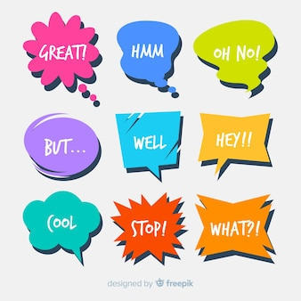 Set of speech bubbles with short messages