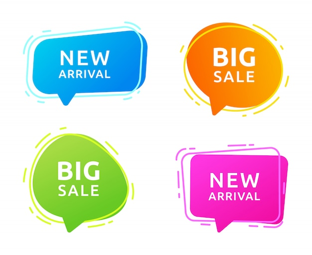 Set of speech bubbles with text big sale and new arrival