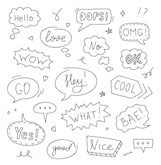 Set of speech bubbles with text: hello, love, ok, wow, no. doodle sketch style. vector illustration.