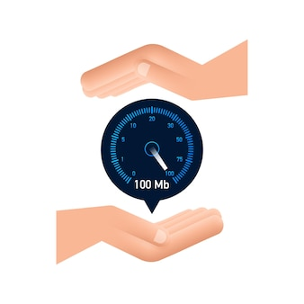 Set speed test in hands speedometer internet speed website speed loading time