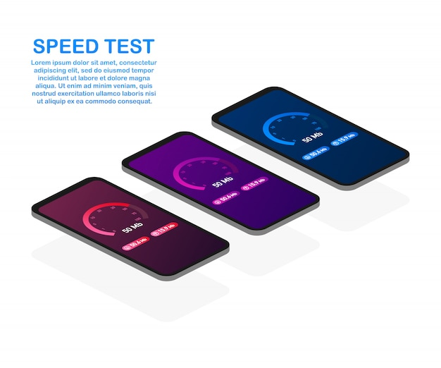 Set speed test on smartphone. speedometer internet speed 50 mb. website speed loading time. .