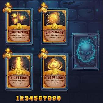 Lightstrike, lightblast, lightbeam, ring of light의 주문 카드를 설정합니다. 게임, 사용자 인터페이스, 디자인