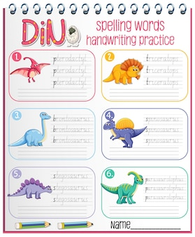 Insieme del foglio di lavoro di pratica della scrittura a mano del dinosauro di parole di ortografia