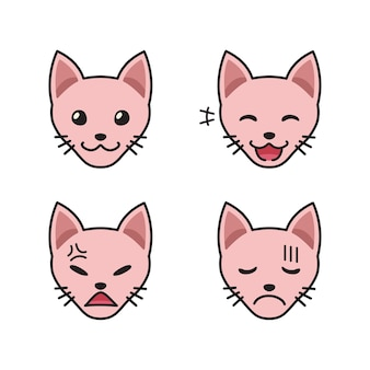 Set of sphynx cat faces showing different emotions