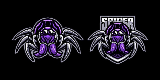Set of spider mascot illustration