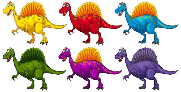 Set of spinosaurus dinosaur cartoon character