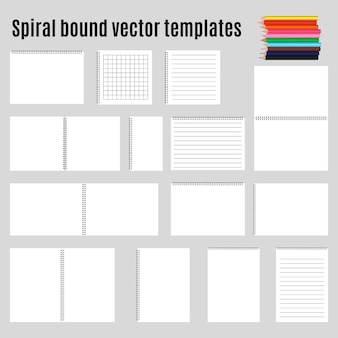 Set of spiral bound horizontal notepads and pencil. collection.