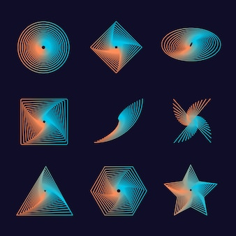 Set of spirals, isolated vector graphic