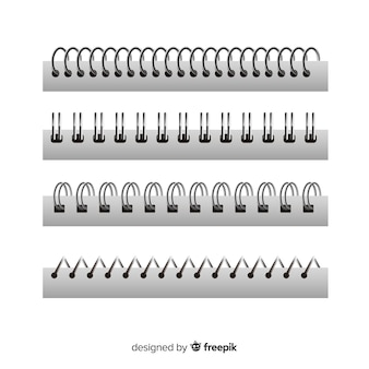 Set of spirals for notebooks realistic style