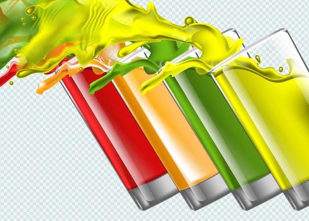 Set of splashing juice glasses on transparent background