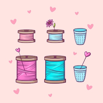 Set of spools with threads and thimbles in doodle style isolated on pink background with hearts.