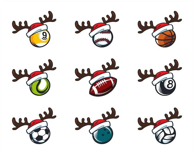 Set of sport ball christmas theme logo