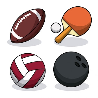 Set sport balls equipment image