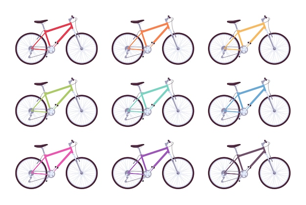 Set of sport bicycles in different colors