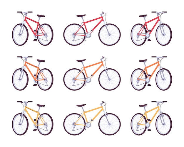 Set of sport bicycles in red, orange, yellow colors
