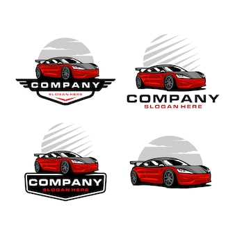 Set of sport car logo template