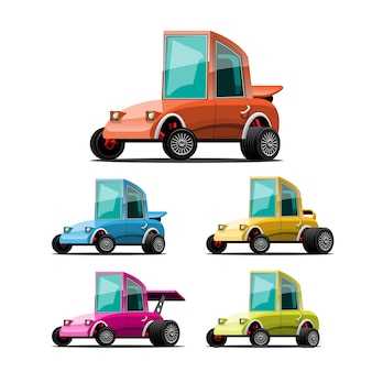 Set of sport cars in cartoon style on white