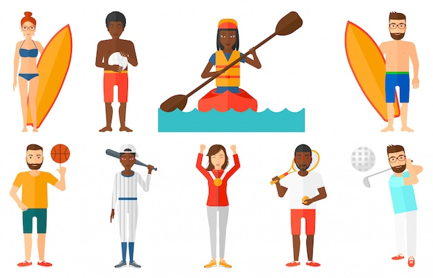 Set of sport characters.