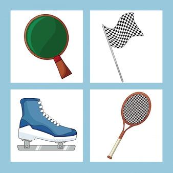 Set sport equipment icon