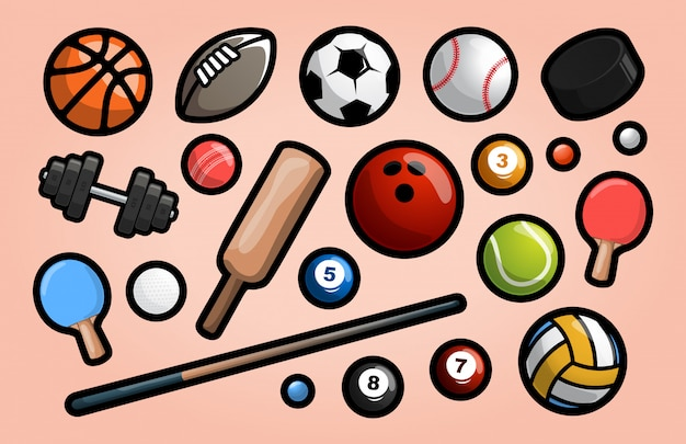 Set of sport equipment in simple design with outline