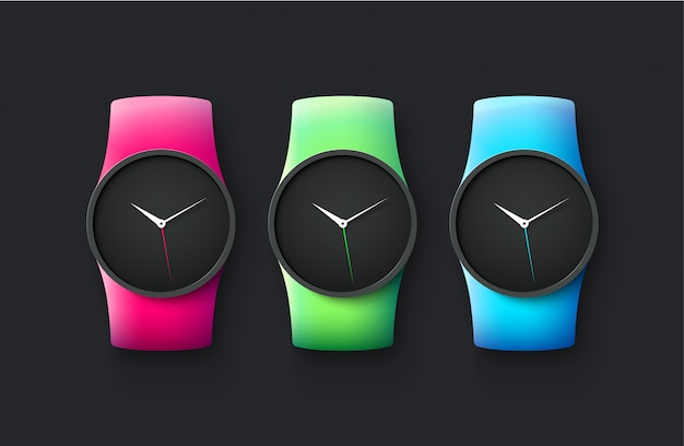 Set of sport and fashion smart wrist watches