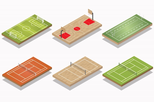 Set of sport field isometric. soccer, basketball, american football, tennis, and volleyball field.