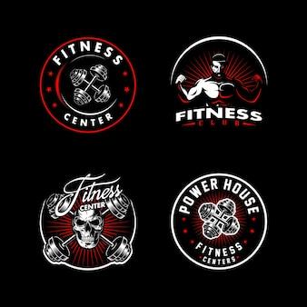 Set sport logo for fitness in dark background