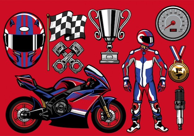 Set of sportbike racing objects