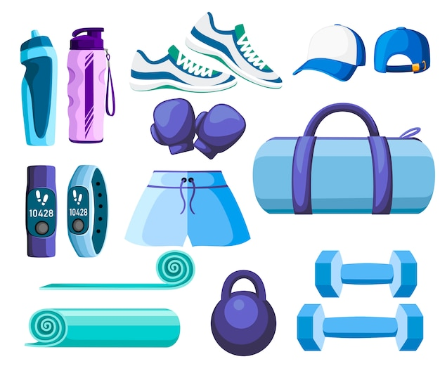 Set of sports accessories and clothes. blue and purple color collection. icons for classes in the gym.  illustration  on white background