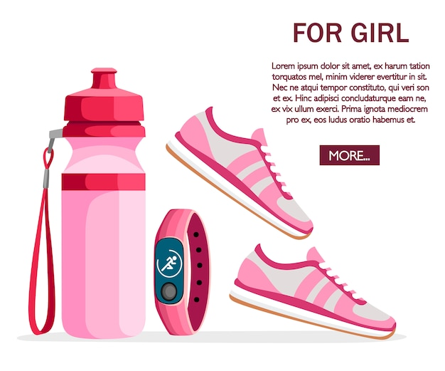 Set of sports accessories and clothes. women outfits. pink color collection. icons for classes in the gym.  illustration on white background. place for text