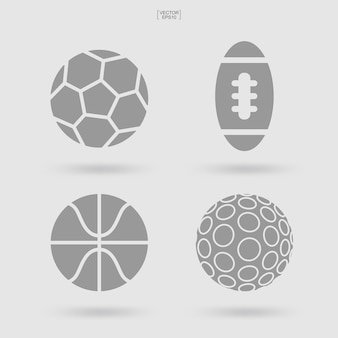 Set of sports ball icon. abstract sport sign and symbol of soccer, football, basketball and golf. simple flat icon for web site or mobile app. vector illustration.