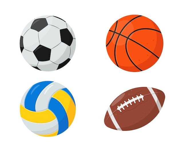 Set of sports balls  for basketball volleyball rugby and soccer