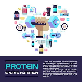A set of sports nutrition and accessories for sports