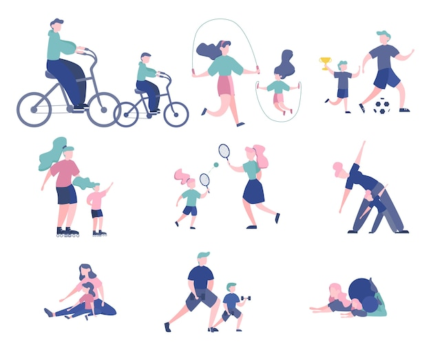Set of sports people with their children. parents doing different kind of sport - play foottball, doing yoga, skating. gymnastics and workout.  illustration